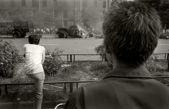 A Fire in June. Burning vehicles of the PLA – June 4th 1989. (Photo by Robert Croma)