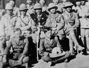 Tibetan military officers. Dalai Lama's nephew Drumba is second from left, middle row.