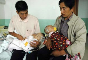 Two babies at a military hospital in Lanzhou, Gansu province
