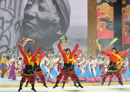 Artists perform dance at a gala in Beijing
