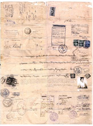 (西藏政府派的贸易访问团团长)夏格巴的护照。