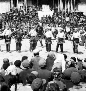 Dance Troupe from a middle school in Lhasa, wearing 'reformed' Tibetan dresses and the singing propaganda song 'East is Red' during the Cultural Revolution.